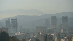 View of skyscrapers and hills  in Sarajevo - stock footage