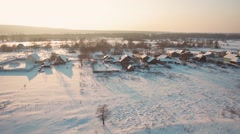 Village life in winter Stock Footage