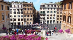 People walking in the Spanish steps, in the Piazza di Spagna, Rome Stock Footage