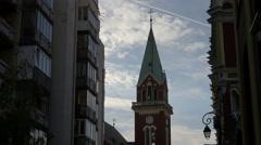 The clock tower of Crkva svetog Ante Padovanskog, Sarajevo - stock footage