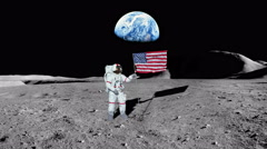Moon as Astronaut puts America Flag in Ground, 4K Stock Footage