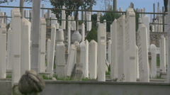 View of white tombstones in Groblje Alifakovac cemetery, Sarajevo Stock Footage