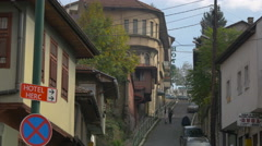 People walking on Podcarina street in Sarajevo Stock Footage