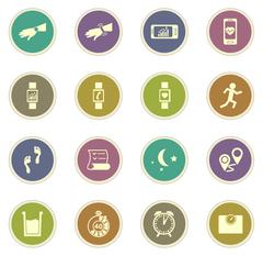 Jogging and workout icons Stock Illustration