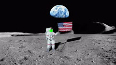 Moon as Astronaut puts America Flag in Ground with Green Screen Face, 4K - stock footage