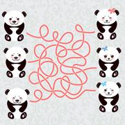 Kawaii funny panda white muzzle with pink cheeks and big black eyes. labyrinth Stock Illustration