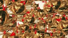 Flying devil heart with horns and tail in golden color Stock Footage