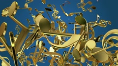 Falling musical notes in golden color on blue Stock Footage
