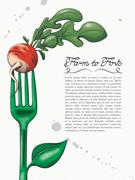 Ink and Watercolor Style Green Fork with Radish Stock Illustration