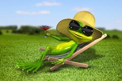 Frog in a deck chair on the grass Stock Illustration