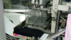 Packing Machine in Garment Factory Stock Footage