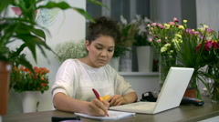 Ordering Flowers Online Stock Footage
