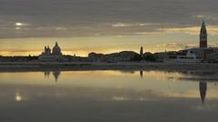 Basilica Santa Maria della Salute and St Mark's Tower in Venice Stock Footage