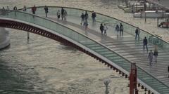 Walking on Ponte della Constituzione in Venice Stock Footage