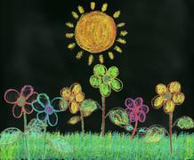Child-like Crayon Drawing of Flowers in a Garden Under A Bright Sun - stock illustration