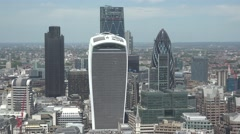 4K Aerial view London modern tall tower business skyscraper residential rooftop  Stock Footage