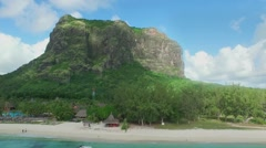 Aerial view of Le Morne Brabant mountain in Mauritius Stock Footage