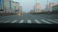 View through the car windshield on buildings - stock footage