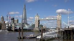 4K Timelapse traffic car Tower Bridge London landmark Shard modern skyscraper UK - stock footage