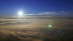 Morning mountain panorama with fog on the valley Stock Footage