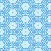Seamless kaleidoscopic decorated pattern in blue Stock Illustration