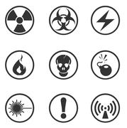 Hazard Sign Icons - stock illustration