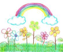 Rainbow Over the Garden (Isolated on White) - stock illustration