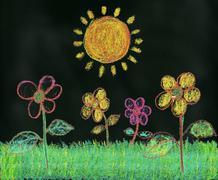 Sunshine in the Garden - stock illustration