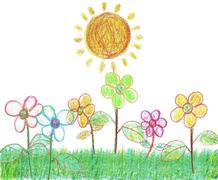 Sunshine in the Garden (Isolated on White Background) - stock illustration