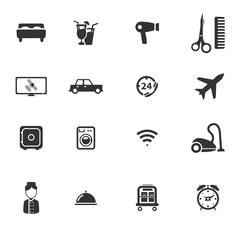 Hotel simply icons - stock illustration