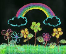 Rainbow Over the Garden - stock illustration