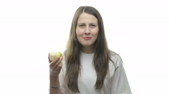 Stock Video Footage of Brunette woman eating pear, fourth video