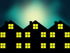 The Neighborhood on Hazy Night Stock Illustration
