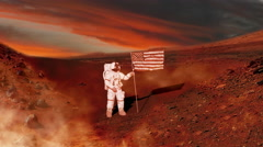 Mars as Astronaut puts American Flag on it in Future, 4K - stock footage