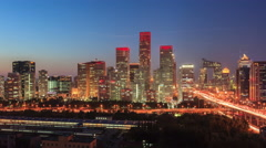 4K: Beijing Central Business District(CBD),dusk to night, Time-Lapse. Stock Footage
