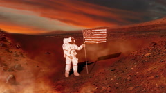 Mars as Astronaut puts American Flag on it in Future Zoom In, 4K Stock Footage