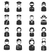 Ocupation simply icons Stock Illustration