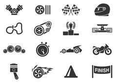 Racing icons - stock illustration