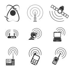 Radio signal simple vector icons - stock illustration