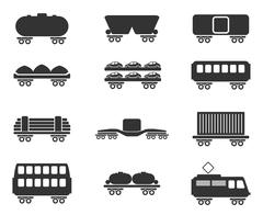 Stock Illustration of Rail-freight traffic icons