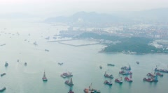 Utility Barges in Bay of Hong Kong. Video 1920x1080 - stock footage