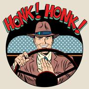 honk vehicle horn driver man - stock illustration