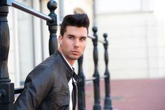 Portrait of an attractive male fashion model - stock photo