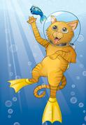 Scuba Cat Stock Illustration
