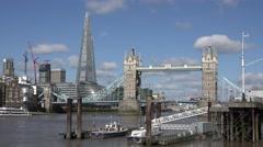 4K Amazing view London emblem Shard modern building Tower Bridge traffic car day Stock Footage