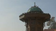 Pigeons standing on  Sebilj fountain in Sarajevo - stock footage