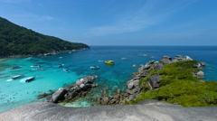 Overlooking Shot of a Tourist Beach on Koh Similan, Thailand. Video 1080p Stock Footage