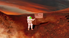 Mars as Astronaut puts American Flag on it in Future Green Screen, 4K Stock Footage