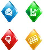 office glass transparent color icon set - stock illustration