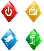 office glass transparent color icon set - stock illustration